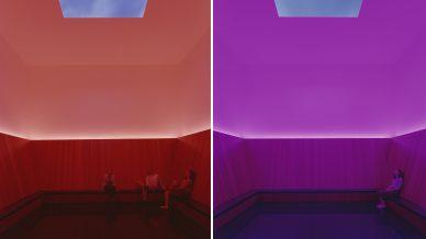 Foto's van een Twilight Experience in het werk Skyspace van James Turrell in museum Voorlinden